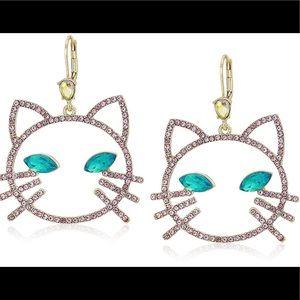 Betsey Johnson Pave Cat Dangle Earrings